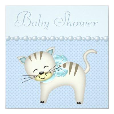 Cute Cat, Pearls & Hearts Blue Baby Boy Shower Invitations