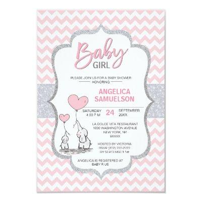 Cute Chevron Pink Grey Elephant Baby Shower GIRL Invitation