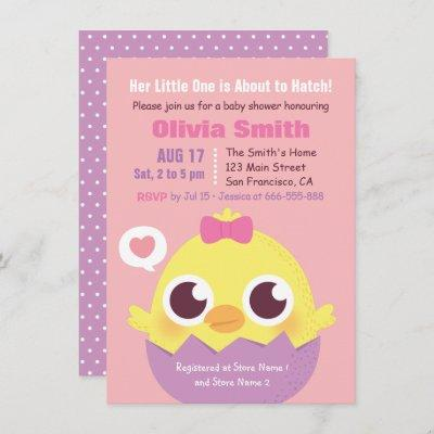 Cute Chick About to Hatch Baby Girl Shower Invitation
