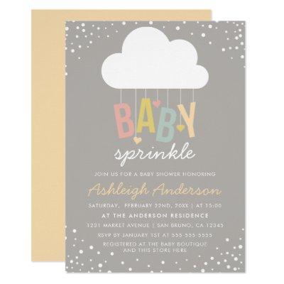 Cute Cloud & Confetti Baby Sprinkle Invitation