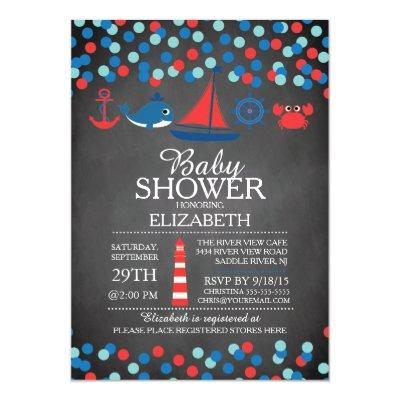 Cute Confetti Nautical Boys Baby Shower Invitation