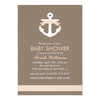 Cute Coral Anchor Nautical Theme Baby Shower Invitations