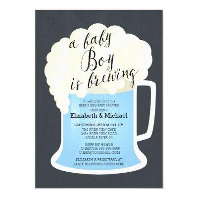 Cute Couples Boys Baby Brewing Invitations