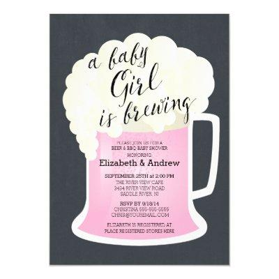 Cute Couples Girls Baby Shower Baby Brewing Invitations