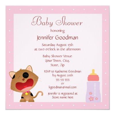 Cute Crying Kitten Pink Baby Shower Invitations