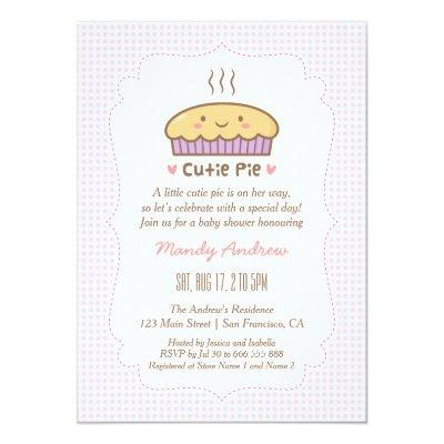 Cute Cutie Pie Baby Girl Shower Invitations