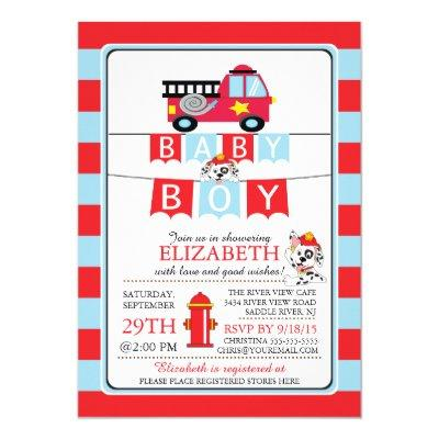 Cute Dalmation Fire Truck Baby Shower Invitations