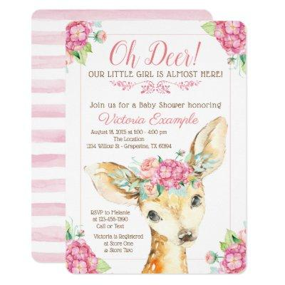 Cute Deer Baby Girl Shower Invitations