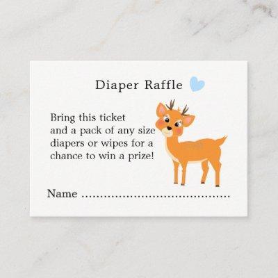 Cute Deer Hearts Winter Baby Shower Diaper Raffle Enclosure Card