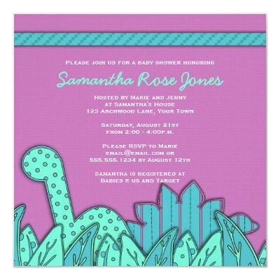 Cute Dinosaur Theme Baby Shower - Purple Turquoise Invitations