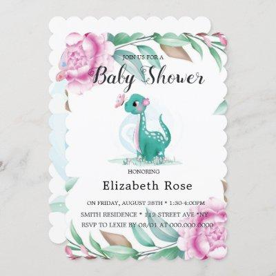 Cute Dinosaur With Pink Peony Baby Girl Shower Invitation