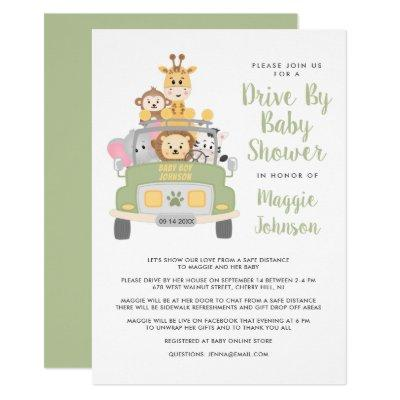 Cute Drive By Animal Safari Baby Shower Invitation