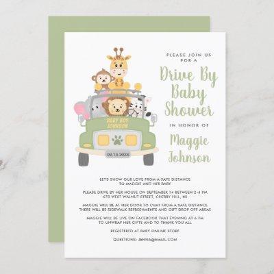 Cute Drive By Animal Safari Baby Shower Invitation
