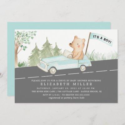 Cute Drive By Bear Boys Baby Shower Invitation