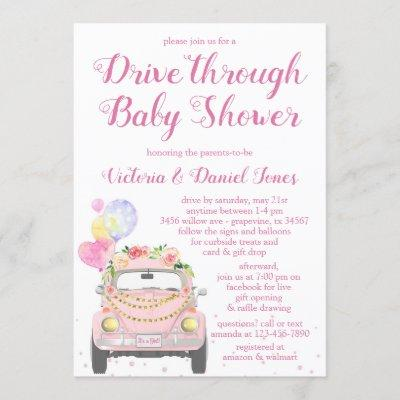 Cute Drive Through Baby Shower Invitation