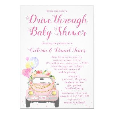 Cute Drive Through Baby Shower Invitation