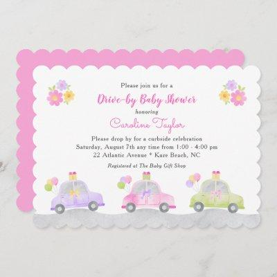 Cute Drive Through Cars and Bows Girl Baby Shower Invitation