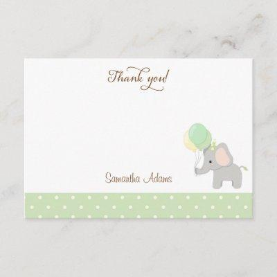 Cute Elephant Baby Shower Thank You Invitations