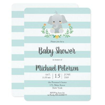 Cute elephant boy baby shower invitation