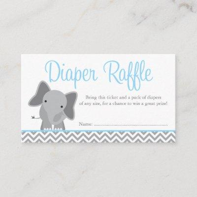 Cute Elephant Chevron Blue Diaper Raffle Ticket Enclosure Invitations