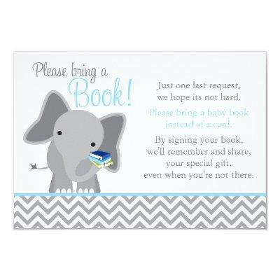 Cute Elephant Chevron Light Blue Baby Shower Book Invitations
