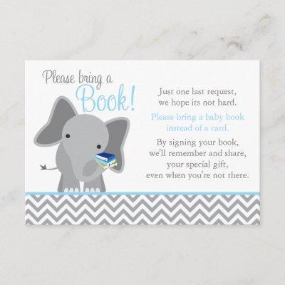 Cute Elephant Chevron Light Blue Baby Shower Book Enclosure Invitations
