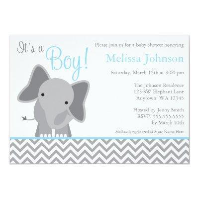 Cute Elephant Chevron Light Blue Baby Shower Invitations