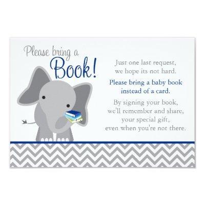 Cute Elephant Chevron Navy Blue Baby Shower Book Invitations