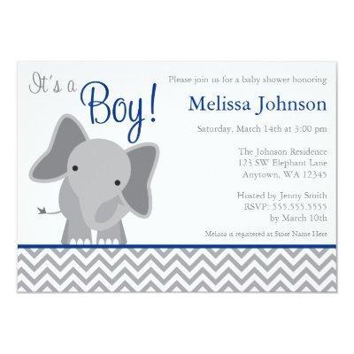 Cute Elephant Chevron Navy Blue Invitations
