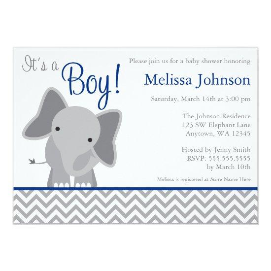 Cute Elephant Chevron Navy Blue Baby Shower Card