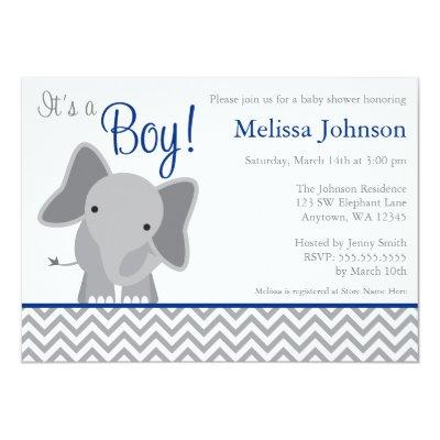 Cute Elephant Chevron Navy Blue Baby Shower Invitations