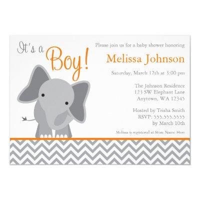Cute Elephant Chevron Orange Baby Shower Invitation