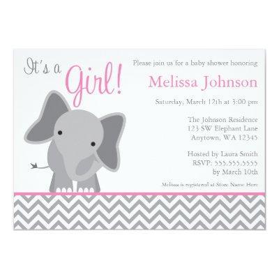 Cute Elephant Chevron Pink Invitations