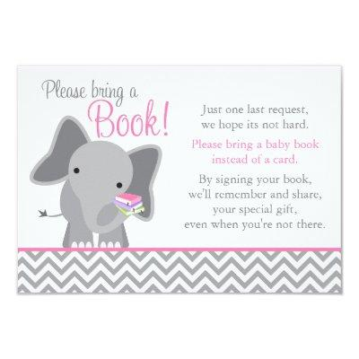 Cute Elephant Chevron Pink Girl Book Invitations