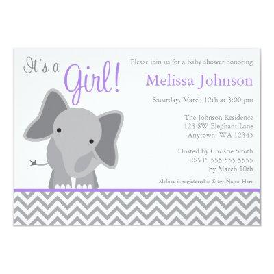 Cute Elephant Chevron Purple Baby Shower Invitations