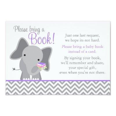 Cute Elephant Chevron Purple Girl Book Invitations