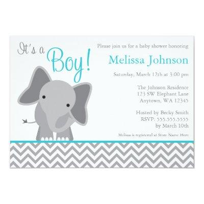 Cute Elephant Chevron Teal