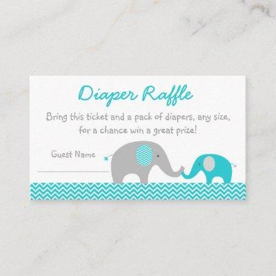 Cute Elephant Diaper Raffle Tickets Teal & Grey Enclosure Card