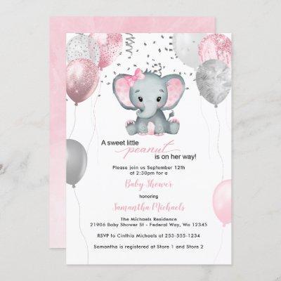 Cute Elephant Girl Balloons Baby Shower Invitation