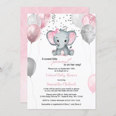 Cute Elephant Girl Balloons Virtual Baby Shower Invitation