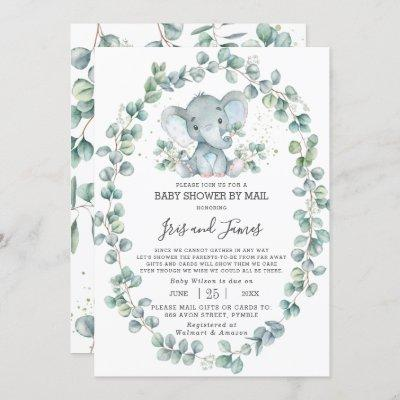 Cute Elephant Greenery Baby Shower by Mail Boy Invitation