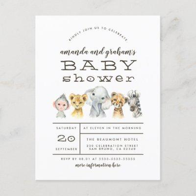 Cute Elephant & Jungle Friends Rustic Baby Shower Invitation Postcard