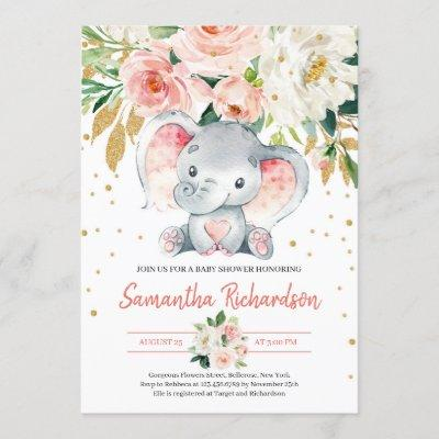 Cute Elephant Rustic BLush Pink FLoral Baby Invitation