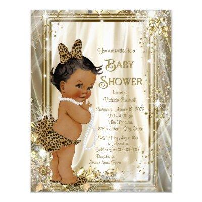 Cute Ethnic Girl Leopard Pearls Baby Shower Invitation