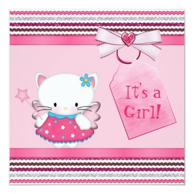 Cute Fairy Kitty Cat Pink Baby Shower Invitations