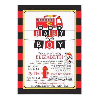 Cute Fire Truck Invitations