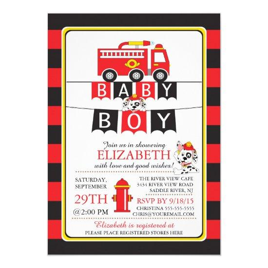 Cute Fire Truck Baby Shower Invitation