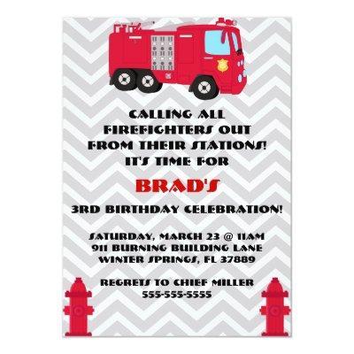 Cute Fire Truck Engine Birthday Party Invitation