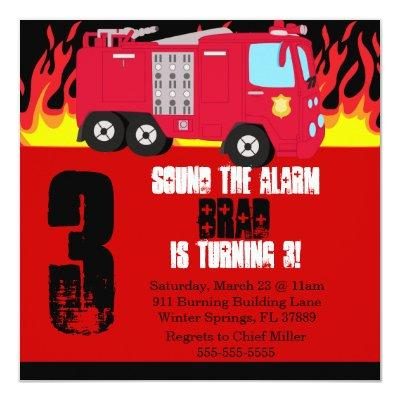 Cute Fire Truck Engine Birthday Party Invitations