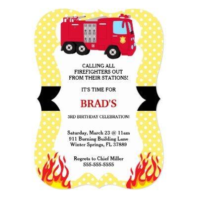 Cute Fire Truck Firefighter Birthday Invitation